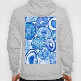 Blue agate slices watercolor Hoody
