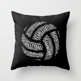 White Volleyball Wordcloud - Gift Throw Pillow