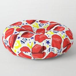 Trump 45 MAGA Hat Pattern - White Floor Pillow