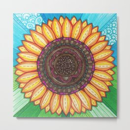 Sunflower Stitches Metal Print