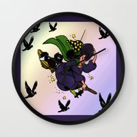 witch Wall Clocks featuring Witch by Art-Motiva