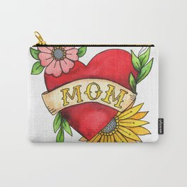 Mom Heat Tattoo Watecolor with Flowers Carry-All Pouch