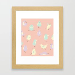 Pastel Pigeons Framed Art Print