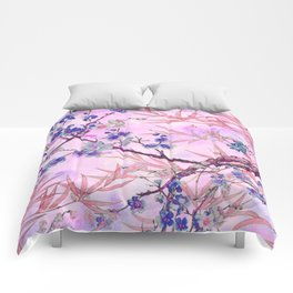 little blue flowers and pink leaves Comforters