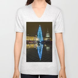Trafalgar Square Christmas Tree Unisex V-Neck