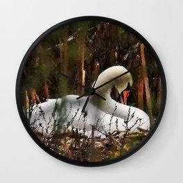Swan On Nest Wall Clock