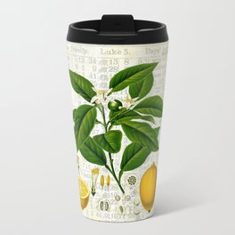 Lemon Botanical print on antique almanac collage Travel Mug