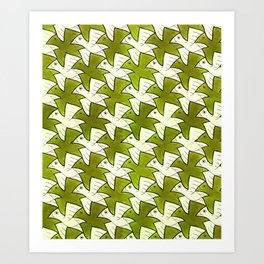 Bali Birds Bird Watcher Camouflage Ornithology Tessellation Art Print