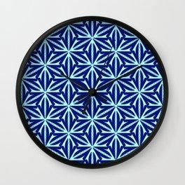 Cyan Curves Sharp Edges Radial Design Latticed Lines Spirit Organic Wall Clock