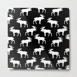 Moose Trot // Black Metal Print