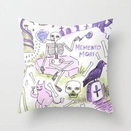 memento mori horror pattern Throw Pillow
