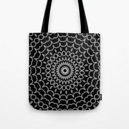 Mandala Fractal in Black and White Tote Bag