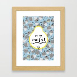 Monochrome pears on blue backdrop with yellow dots Framed Art Print