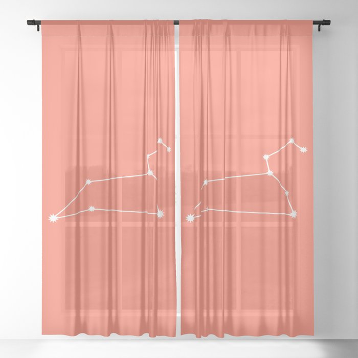 Leo Zodiac Constellation - Coral Red Sheer Curtain