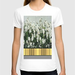 Wild white roses  with golden ribbon T-shirt