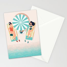 My Day Off - Kitschy Ladies Lounging at the Beach Stationery Cards