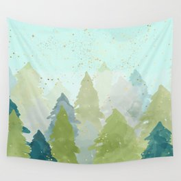 Teal Abstract Gold Glitter Forest Wall Tapestry