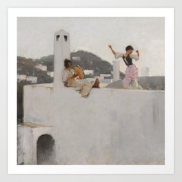 Classical Masterpiece Capri Girl on a Rooftop by John Singer Sargent Art Print