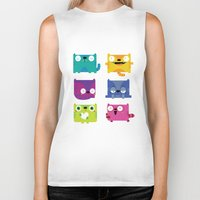 cats Biker Tanks featuring Cats by Maria Jose Da Luz