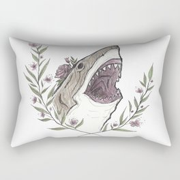 Floral Shark Rectangular Pillow