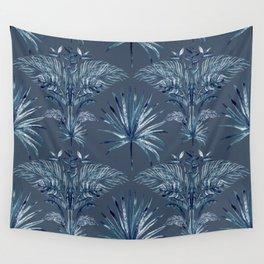 Indigo Batik Bohemian Palms Wall Tapestry