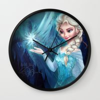 frozen elsa Wall Clocks featuring Elsa Frozen by Niniel