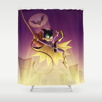 batgirl Shower Curtains featuring Batgirl by Eileen Marie Art