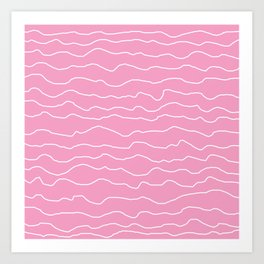 Pink with White Squiggly Lines Art Print