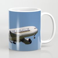 singapore Mugs featuring Singapore Airlines Airbus A380 by David Pyatt