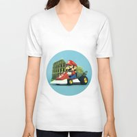 mario kart V-neck T-shirts featuring Super Mario: the homecoming by josemanuelerre