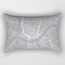 Cincinnati Map, Ohio USA - Pewter Rectangular Pillow