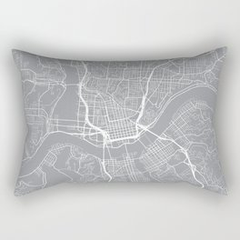 Cincinnati Map, Ohio USA - Pewter Rectangular Pillow