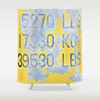 numbers Shower Curtains featuring Big Numbers  by Ethna Gillespie