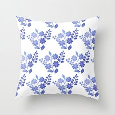 Blue floral pattern 3 Throw Pillow