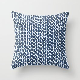 Hand Knit Zoom Navy Throw Pillow