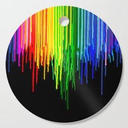 Rainbow Paint Drops on Black Cutting Board