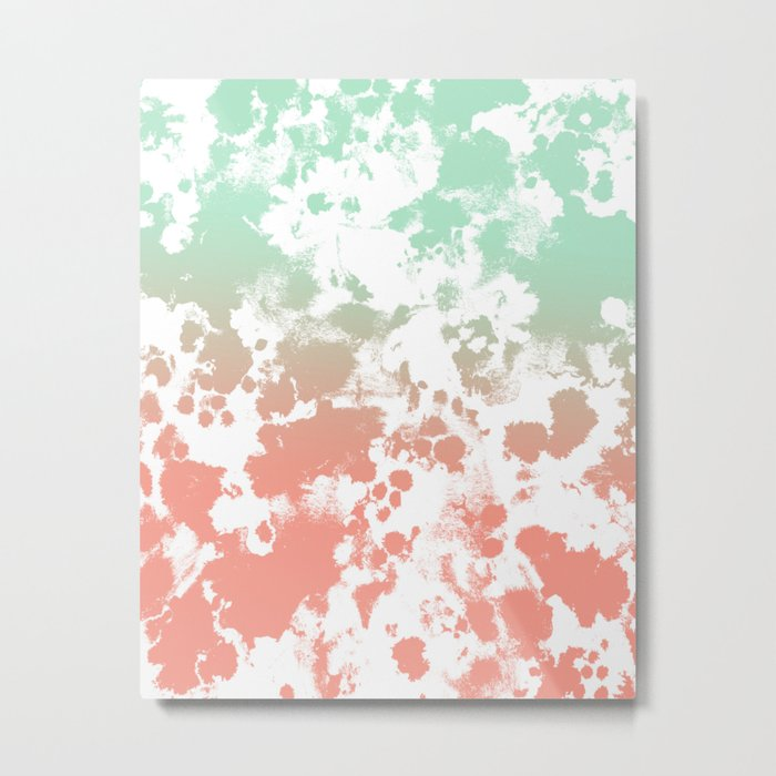 Abstract minimal ombre fade painted trendy modern color palette Metal Print