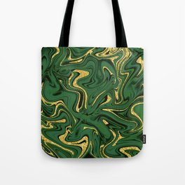 Luxury Marble Pattern in Emerald, Gold, Green and Copper Tote Bag