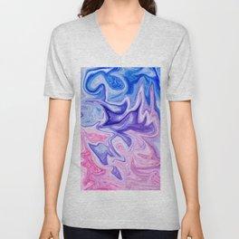 Pink & Blue Violet Marble Art Unisex V-Neck