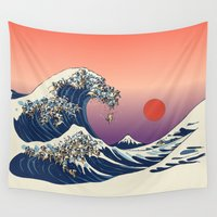 japanese Wall Tapestries featuring The Great Wave of Pug   by Huebucket