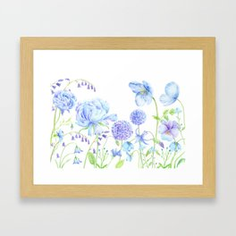 Watercolor Blue Garden Illustration Framed Art Print