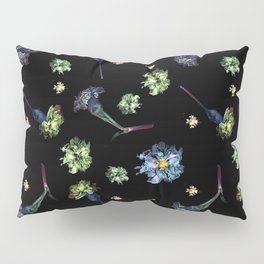 Carnations, Soft Grunge, Black, Blue, Real Flowers Pattern Pillow Sham
