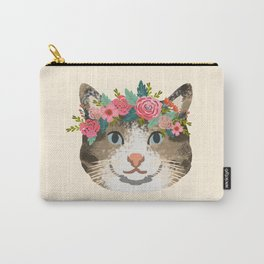 Cat tabby floral crown cute gifts for cat lovers Carry-All Pouch