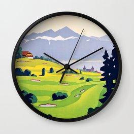 Swiss vintage travel poster Golf Lausanne Switzerland Wall Clock