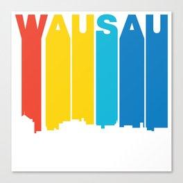Retro 1970's Style Wausau Wisconsin Skyline Canvas Print