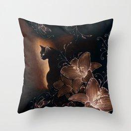 Black Kitty Halloween Throw Pillow