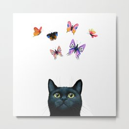 Cat 606 with butterflies Metal Print