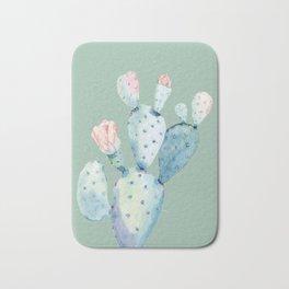 Rose Desert Cactus Mint Green Bath Mat