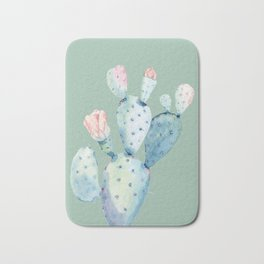 Rose Desert Cactus Mint Green Bath Mat