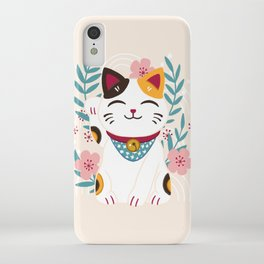 Japanese Lucky Cat with Cherry Blossoms iPhone Case